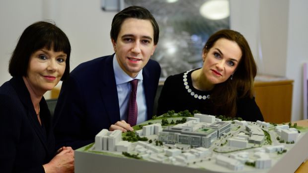 From left, Kay Connolly, chief operations officer; Simon Harris, Minister for Health and Dr Rhona Mahony, Master of the National Maternity Hospital, with a model of the new hospital at St Vincent's Hospital in March. File photograph: Cyril Byrne/The Irish Times