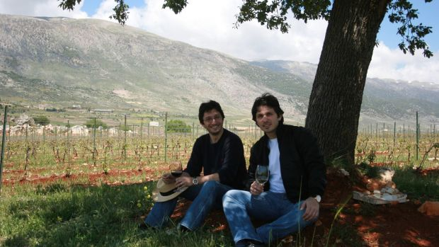 Karim (left) and Sandro Saadé at their Lebanese wine estate Chateau Marsyas.