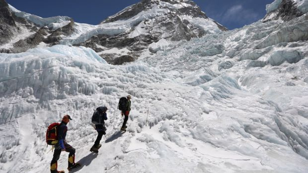 Climbers on the Khumbu icefall.