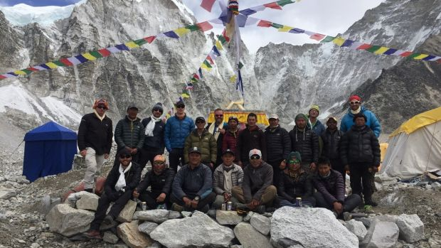 The full team including our climbing sherpa and base camp staff at the end of the Puja ceremony.