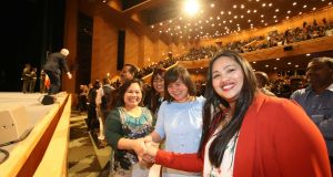 Among those at the Irish citizenship ceremony on Friday were  Joan Sheehan, Irma Fleming, Marilyn Donoso and Michelle Canadilla, originally from the Philippines. Photograph: Sam Boal/Rollingnews.ie