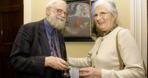 Patrick Pye and Nóirín Pye at the opening of his exhibition at the Jorgensen Gallery, Molesworth Street in 2003. Photograph: Cyril Byrne
