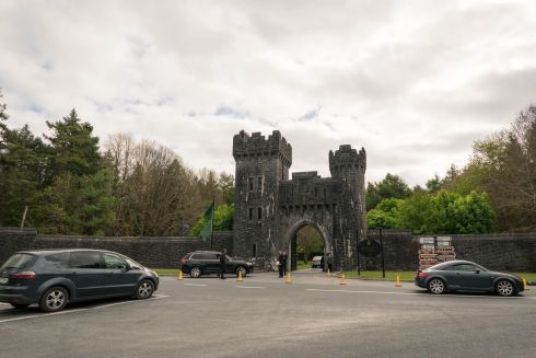 WEDDING BELLS: Security checking cars at the gates of Ashford Castle, Cong, Co Mayo ahead of Rory McIlroy's wedding on Saturday. Photograph: Keith Heneghan/Phocus