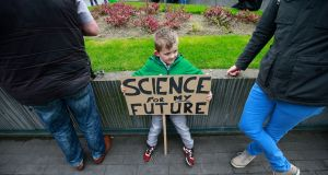 A young protester, Lachlan Finlay from Castleknock, at the March for Science  in Dublin on Saturday afternoon. Photograph: Nick Bradshaw