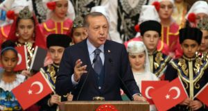 "Turkish president Recep Tayyip Erdogan:  ""After the failed coup attempt last July, he started a large-scale purge of his ""enemies"", arresting 45,000 people and firing or suspending 130,000. But he has 10 straight victories at the polls since 2002, and there is no doubting his popularity."" File photograph:  Adem Altan/AFP/Getty Images"
