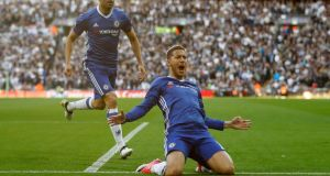 Eden Hazard came off the bench to score Chelsea's key third goal against Spurs. Photograph: Peter Nicholls/Reuters