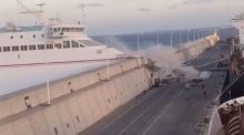 Ferry crashes through port wall in Gran Canaria