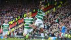 Scott Sinclair   celebrates scoring Celtic's  second goal from the penalty spot in the    Scottish Cup semi-final at Hampden Park. Photograph: Mark Runnacles/Getty Images