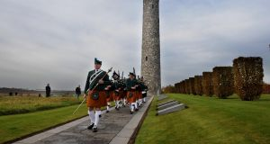 Members of the Metropolitan Police Service Emerald Society Pipe and Drum Band pictured in the Island of Ireland Peace Park in Messines, Belgium, on Remeberance Sunday in 2008. Photograph: Aidan Crawley