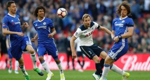 Tottenham's Harry Kane in action with Chelsea's David Luiz, Nathan Ake and Nemanja Matic during the FA Cup semi-final at Wembley. Photograph: Carl Recine/Reuters