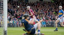 Darren Gleeson saves a shot from Jason Flynn during Tipperary's heavy NHL final defeat to Galway. Photgraph: Morgan Treacy/Inpho