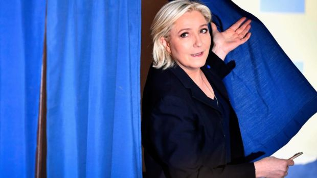 Front National leader Marine Le Pen casts her vote for the French elections on Sunday. Photograph: Jeff J Mitchell/Getty Images