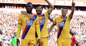Christian Benteke's brace saw Crystal Palace come from behind to sink Liverpool at Anfield. Photograph: Peter Byrne/PA