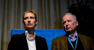 Alice Weidel and Alexander Gauland who were elected as the leading duo for AfD in the German general election. Photograph: Sascha Schuermann/Getty