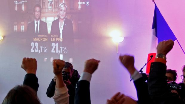 Supporters of Marine Le Pen, French National Front political party leader and candidate for French 2017 presidential election, react after early results in the first round of 2017 French presidential election in Lyon, France, April 23rd, 2017. Photograph: Emmanuel Foudrot/Reuters