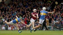 Galway's Jason Flynn scores the first goal of the game. Photograph: Donall Farmer/INPHO