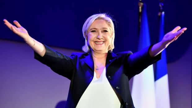 National Front leader Marine Le Pen addresses activists at the Espace Francois Mitterrand in Henin Beaumont after the first round of the French presidential election. Photograph: Jeff J Mitchell/Getty Images