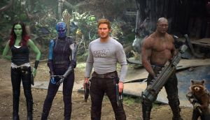 Gamora (Zoe Saldana), Nebula (Karen Gillan), Star-Lord/Peter Quill (Chris Pratt), Drax (Dave Bautista) and Rocket (voiced by Bradley Cooper) in Guardians Of The Galaxy Vol. 2. Photograph:   Film Frame/Marvel