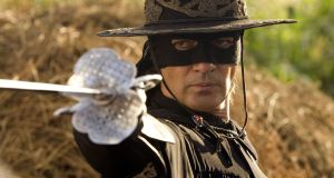 Antonio Banderas in The Legend of Zorro. The character was inspired by the exploits of Irishman William Lamport