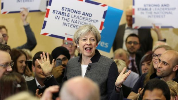 Polls suggest that Britain's prime minister Theresa May will emerge with a larger majority than the 17 seats she has now. Photograph: Reuters/Chris Radburn