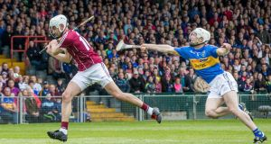 Galway's Jason Flynn and Michael Cahill of Tipperary in action at the Gaelic Grounds: Morgan Treacy/Inpho