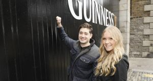 New Yorker James Morrissey and his wife, Kaitlin, arriving at the Guinness Storehouse to spend the night in a specially created 'bedroom' in the Gravity Bar