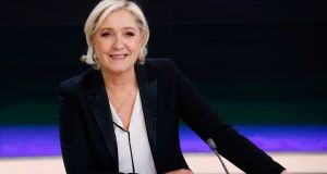 French presidential election candidate Marine Le Pen on the set of the France 2 TV channel, in Paris. Photograph: Patrick Kovarik/AFP/Getty Images