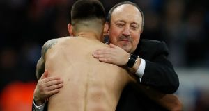 Newcastle manager Rafael Benitez celebrates being promoted to the Premier League. Photograph: Reuters