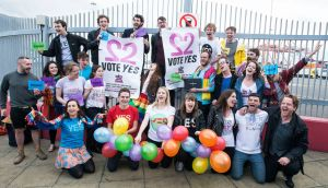 Get the Boat to Vote organised a group of Irish people to return  from London to vote in the same-sex marriage referendum in 2015. Photograph: Dave Meehan