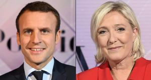 Emmanuel Macron and Marine Le Pen, who face a run-off election on May 7th for the presidency of France. Photograph: Miguel Medina/AFP/Getty Images