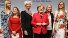Ivanka Trump,  Chrystia Freeland, Christine Lagarde,  Angela Merkel,  Miriam Meckel and Queen Máxima  at the G20 women's conference in Berlin. Photograph: Sean Gallup/Getty Images