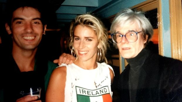 Terry Sharpe, Sara Dallin and Andy Warhol at MTV Boat in New York on July 4th, 1986