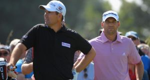Padraig Harrington with Sergio Garcia during the Open Championship in 2013. Photograph: Getty Images