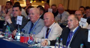 Delegates at the opening session of the GRA's 39th annual conference, in Co Galway. Photograph: Conor   Ó Mearain