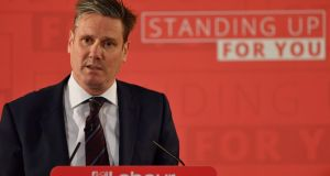 Labour's  Brexit spokesman Keir Starmer delivers a speech on the party's Brexit policy in central London on Tuesday. Photograph: Ben Stansall/AFP/Getty Images