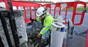 Workers install water meters at houses in Blanchardstown. Just a tenth of Irish Water customers accounted for almost half of all water used according to new statistics. File photograph: Colin Keegan, Collins Dublin