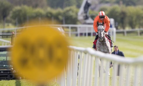 Labaik, under jockey Jack Kennedy, plays catch up after failing to start. Photograph: Inpho