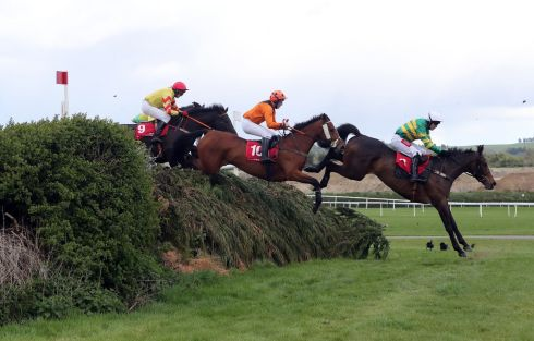 Runners and riders compete in the Kildare Hunt Club Father Sean Breen Memorial Chase For The Ladies Perpetual Cup. Photograph: PA