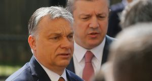 Hungarian Prime Minister Victor Orban (left) pictured in Georgia. Photograph: EPA/Zurab Kurtsikidze