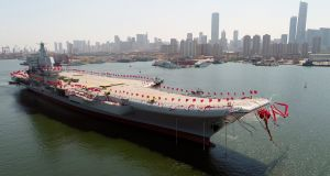 China's second aircraft carrier, the Type 001A, during a launch ceremony at a shipyard in Dalian, Liaoning province. Photograph: Li Gang/EPA
