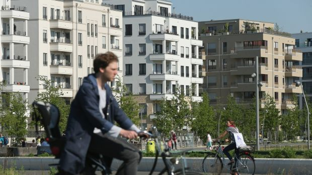 People ride bicycles at Gleisdreieck park in Berlin city centre. Photograph: Sean Gallup/Getty Images