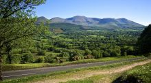 The Galtee Mountain range with highest peak Galtymore Mountain and the Glen of Aherlow to the forefront, Co Tipperary