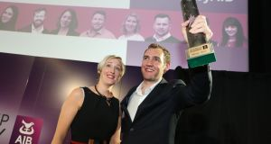 Ostoform chief executive Kevin Kelleher  and chief clinical officer Rhona Hunt,  whose product won the 2017 AIB Start-up Academy  award, valued at €200,000. Photograph: Julien Behal