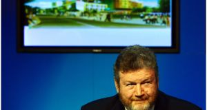 2012: Health minister James Reilly at the Government Press Centre in Dublin announcing that St James's Hospital  would be the location for the new national children's hospital. Photograph: Bryan O'Brien