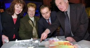 2001: The unveiling of the model of the development control plan for the Mater and Children's Hospital Developments, promising a new hospital campus on a derelict car park site of the Mater hospital in Eccles Street, Dublin. (Left to right) Laura Magahy, of Magahy and Company, Sr Helena O'Donoghue, chairperson, MCHD, the minister for health Micheal Martin, and Martin Cowley, chief executive officer, Mater Misericordiae Hospital. Photograph: The Irish Times