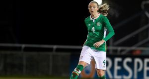 "Louise Quinn in action for the Republic of Ireland: ""I think women's football is pure passion because we don't make that much money."" Photograph: Tommy Dickson/Inpho"
