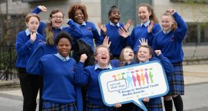 "Overall winners of the Drugs.ie ""Let's Talk About Drugs"" National Youth Media Awards 2017 were Coláiste Eoin, Finglas, Dublin for their song 'Take Your Mask Off'. pictured at the awards ceremony in Dublin. were (front row from left); Renike Sonuyi, Shannon Hoey, Sophie O'Meara and Melissa Robinson, (back from left); Zackarriah Gilmartin, Emer Hale, Erica Omiagbo, Gloria Nankya, Wiktoria Ferdzyn and Katelyn O'Reilly.Photograph: Dara Mac Dónaill/The Irish Times"