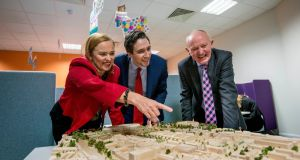 Minister for Health Simon Harris with Eilish Hardiman Group, CEO of the Children's Hospital, and John Pollock, project director NCH at St James's. Photograph: Brenda Fitzsimons