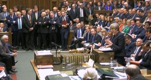 "Theresa May during prime minister's questions in the House of Commons on Wednesday. She repeated again and again that she alone could provide the ""strong and stable leadership"" Britain needs as it begins negotiations to leave the EU.   Photograph: PA Wire"