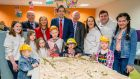 Minister for Health Simon Harris with Eilish Hardiman and John Pollock of the planned children's hospital. Photograph: Brenda Fitzsimons